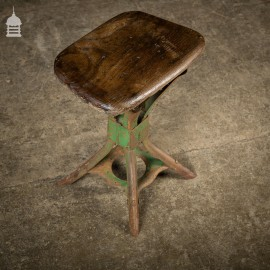 Vintage Steel Industrial Machinists Stool with Elm Seat