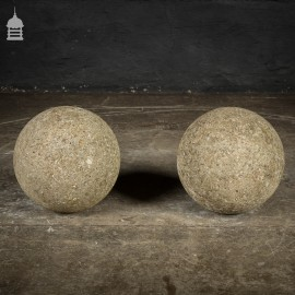 Pair of Weathered Concrete Pier Balls
