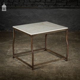 Industrial Steel Table Base with White Marble Top