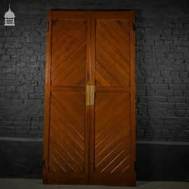 19th C Pitch Pine Double Church Doors with Two Way Hinges