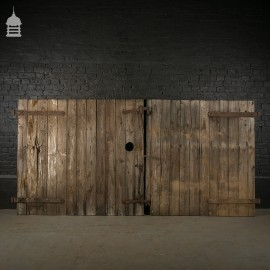 Large Pair of Ledged and Braced Barn Doors with Double Latch Mechanism