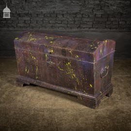 19th C Pine Trunk Chest with Distressed Purple Paint Finish