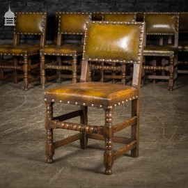 Set of Ten 19th C Oak Bobbin Turned Dining Chairs with Studded Leather Seats