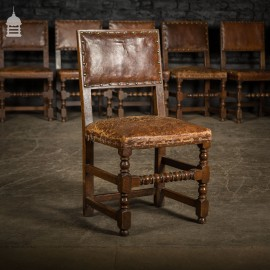 Set of Ten 19th C Bobbin Turned Oak Dining Chairs with Studded Brown Leather Seats
