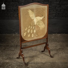 19th C Mahogany Fire Screen With Embroidered Silkwork Peacock Design and Paw Feet