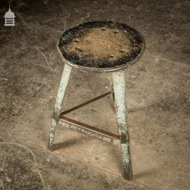 Vintage Industrial Machinist Stool With Black Wooden Top and Green Distressed Paint
