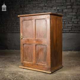 Small 19th C Pine Cupboard Cabinet Internal Bank of Drawers with Inset Brass Handles