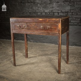 George III Country Pine Single Drawer Side table With Dentil Detail and Internal Chamfered Legs