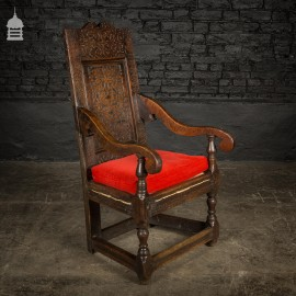 17th C Oak Wainscot Chair With Turned Legs and Strung Base