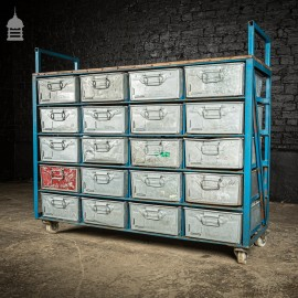 Blue Steel Industrial Workshop Trolley with Bank of 20 Metal Tote Pan Drawers and Pitch Pine Top
