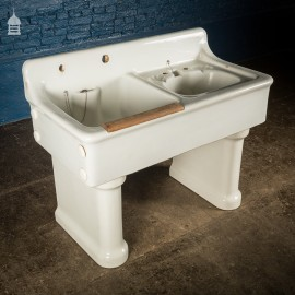 19th C Country House Ceramic Double Sink Station on Legs