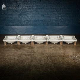 Bank of 5 Twyfords 'Ceramant' Handwash Basins Circa 1950 9 ½ ft Run