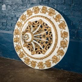 Impressive Elaborately Carved 19th C Celling Rose 3 ft in Diameter