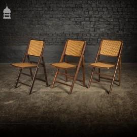 Vintage Set of Three Hardwood Cane Folding Chairs