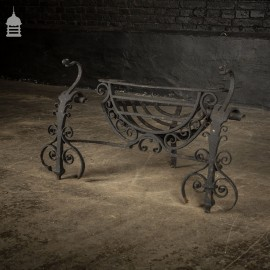 18th C Forged Wrought Iron Firebasket With Elegant Details