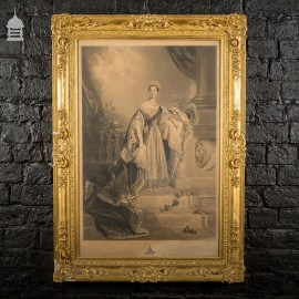 Queen Victoria in Coronation Robes Painted by Alfred Edward Chalon Engraving by Samuel Cousins in Gold Gesso Frame