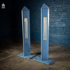 Pair of 20th C Aluminium Obelisk Security Entrance Lights Pillars