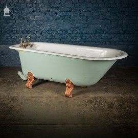 19th C 6 ½ ft Plunger Bath Complete with Scroll Feet, Soap Dishes and Original Taps
