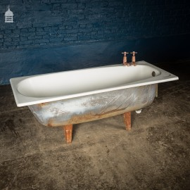 Simple 1920's Cast Iron Bath with Rare Side Tap Placement