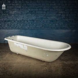 19th C 6ft Cast Iron Roll Top Bath Without Feet