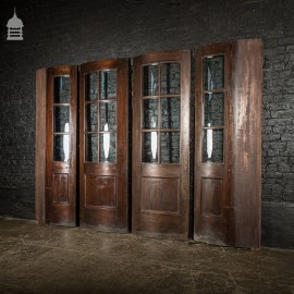 Set of 4 19th C Curved Glazed Mahogany Vestibule Entranceway Doors