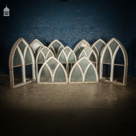 Set of 11 19th C Pine Astral Glazed Arch Top Windows