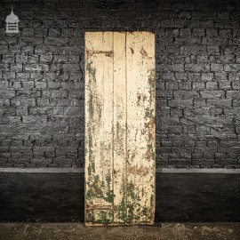 17th C Ledged and Braced Cottage Door with Green & Cream Distressed Paint