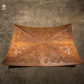 20th C Vaulted Carved Wooden Ceiling Panels Set 1