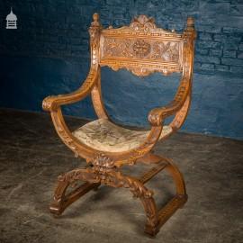 19th C Ornate Carved European Renaissance Walnut Grain X Frame Chair