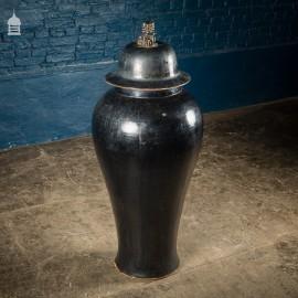 Large Floorstanding Black Glazed Oriental Ming Style Lidded Urn Vase