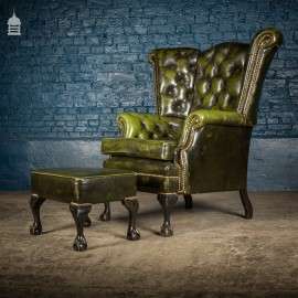1930's Ball Claw Foot Green Leather Studded Extra Large Wingback Armchair with Matching Footstool