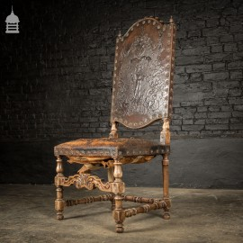 19th C Spanish Studded Throne Chair with Embossed Leather
