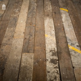 Batch of 55 Square Metres of Pine Tongue & Groove Reclaimed Industrial Factory Flooring