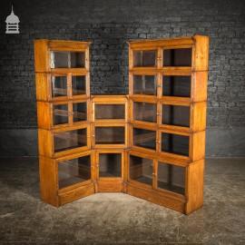 1920s Glazed Oak Stackable Bookcase Display Cabinet