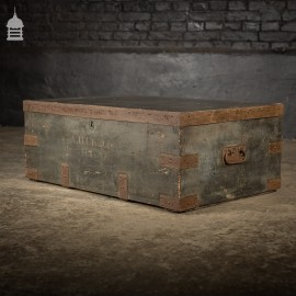 "19th C Royal Regiment Wooden Truck Chest with ""A.D. Chubb R.C.A"" Monogram"