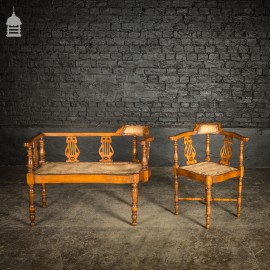 19th C Inlayed Courting Chairs With Fine Turned Wooden Leg and Lyre Back Design