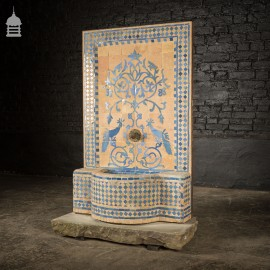Vintage Mosaic Water Fountain With Peacock Detail On York Stone Plinth