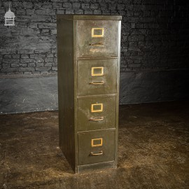1920's Green 4 Drawer Metal Office Filing Cabinet with Brass Details