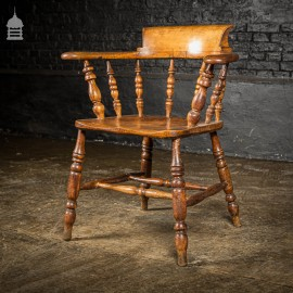 Mid 19th C Elm and Oak Captains Bow Chair Smokers Chair With Turned Spindles
