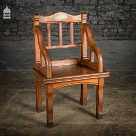 Unusual 19th C Aesthetics Movement Pitch Pine Ecclesiastical Throne Chair