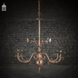 20th C Large Scale 6 Arm Candle Chandelier