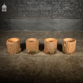 Set of 4 Grotto Ware Terracotta Log Planters