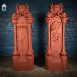 Pair of Cast Iron London County Council Embankment Lamppost Bases finished in Red Oxide Primer
