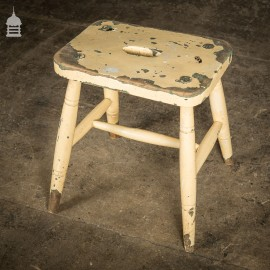 19th C Elm Milking Stool With H Stretcher And Cream Distressed Paint