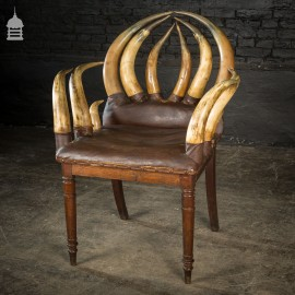 19th C Longhorn Steer Throne Chair with Turned Oak Legs