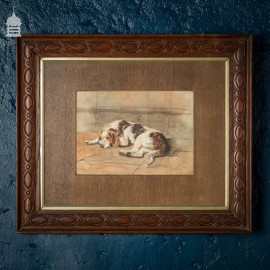 Edwardian Watercolour of a Spaniel in Oak Frame