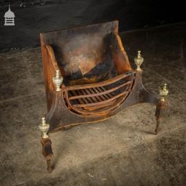 Large Georgian Cast Iron Fire Basket with Brass Finials
