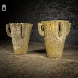 Pair of Hand Chiselled Antique Sandstone Urns