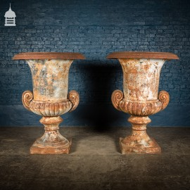 Pair of 19th C Cast Iron Campana Urns of Grand Scale - 5ft Tall