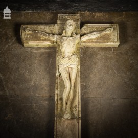A Life-Sized Jesus On The Cross on a Huge 14ft x 6ft Crucifix Carved In Stone